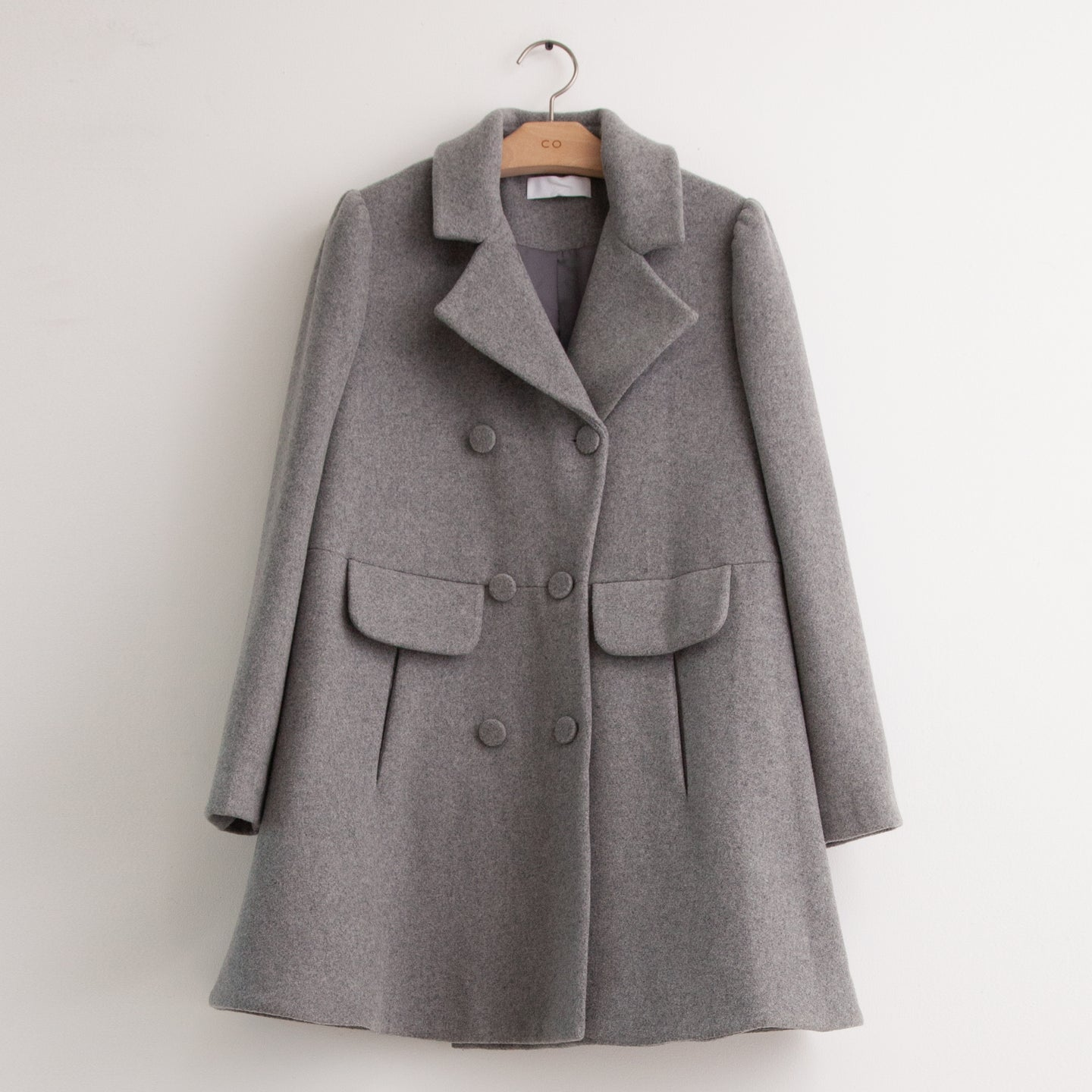 CO - A line pea coat in grey wool melton