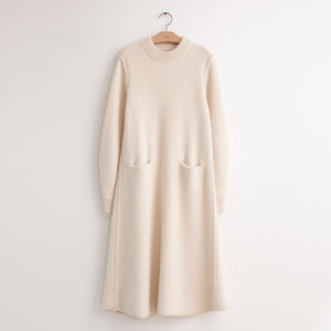 CO - Long sleeve knit shirtdress with pockets in ivory wool