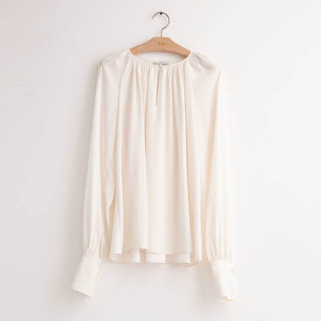 CO - Long sleeve keyhole neck gathered blouse in ivory silk