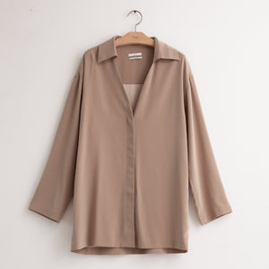 Long sleeve collared v neck covered placket blouse in tan japanese crepe - CO