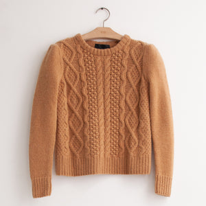 CO - Cable knit sweater with pouf shoulder detail in camel wool
