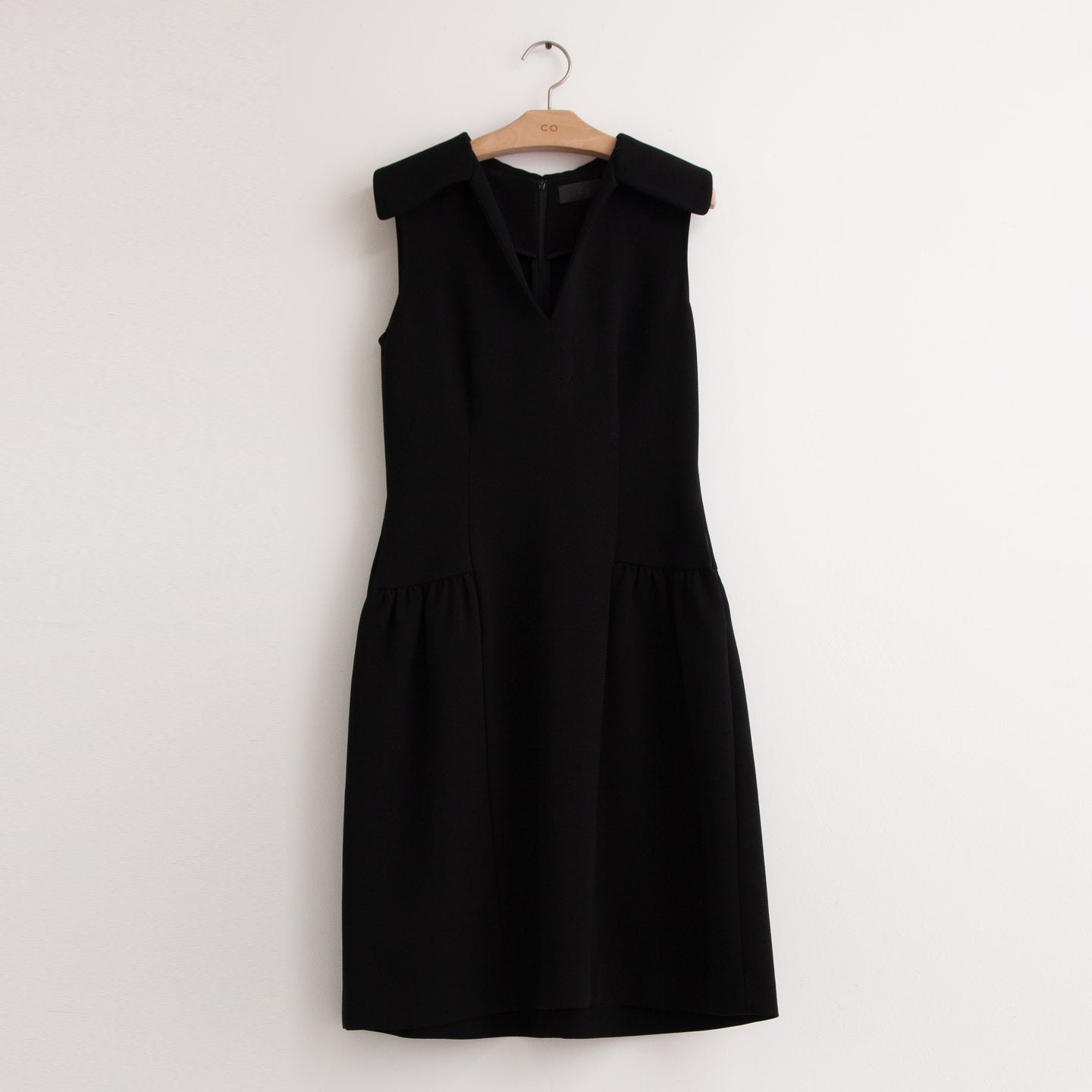 CO - Sleeveless v neck dress with wide collar in black heavy cady crepe