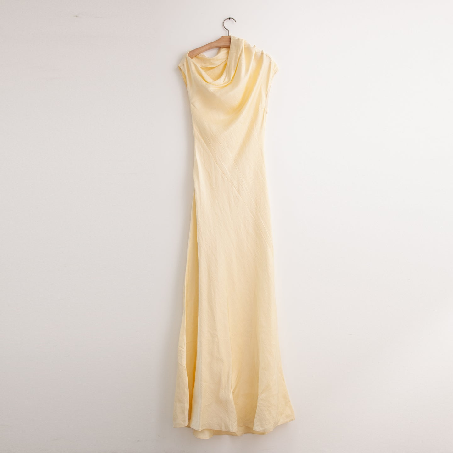 CO - Bias cut cowl neck gown in light yellow silk