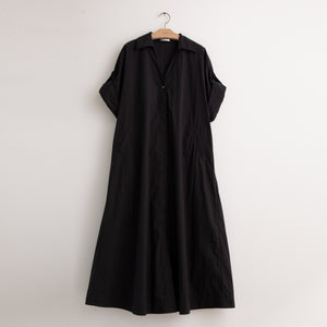 CO - A line shirt dress with convertible sleeve detail in black cotton poplin