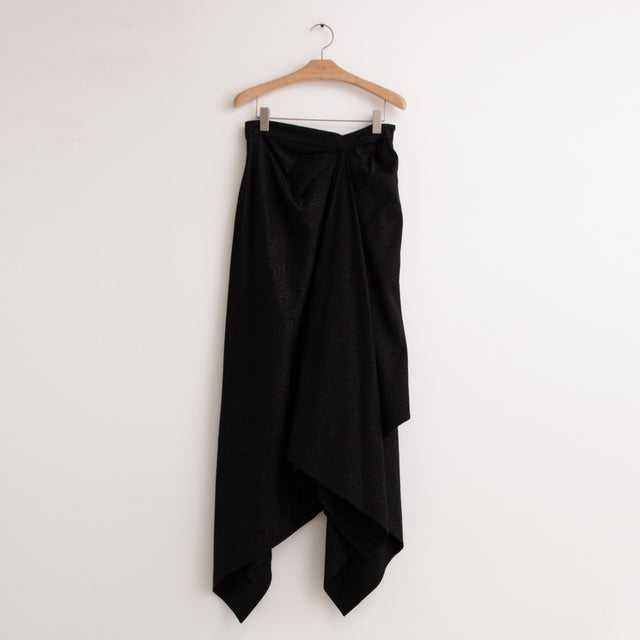 CO - Asymmetrical hem skirt with ruching at waist in black moire jacquard