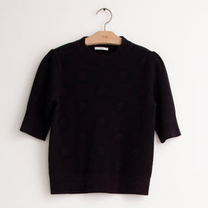 CO - Short sleeve crew neck sweater with floral jacquard design in black compact wool