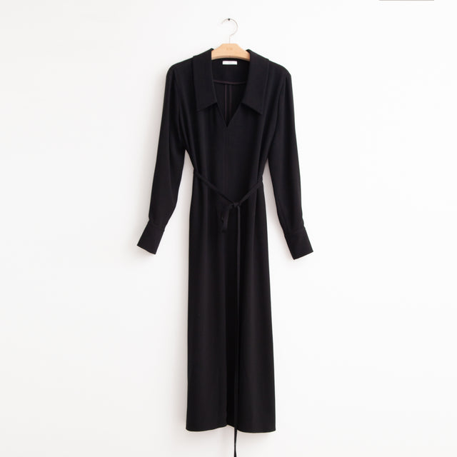 CO - V neck shirt dress with self belt in black crepe