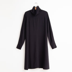 CO - Long sleeve a line dress with mock neck in black stretch viscose