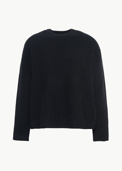 Boxy Crewneck Sweater in Wool Cashmere - Black - CO