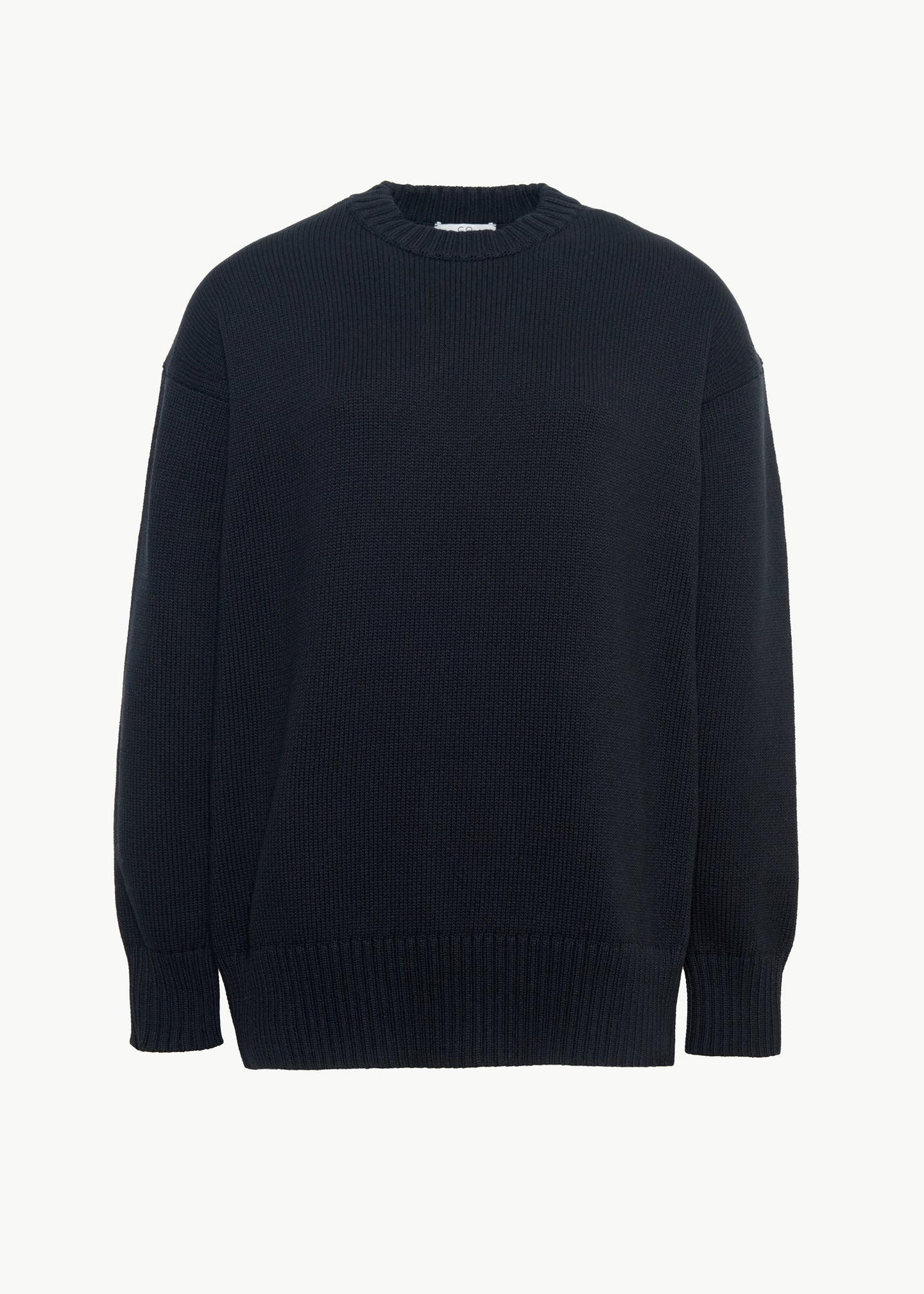 Oversized Crewneck Sweater in Cotton - Black - CO