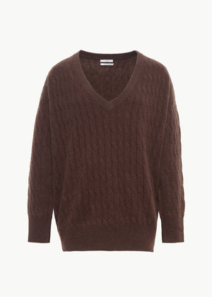 Cable Knit V Neck Sweater in Cashmere - Chocolate - CO