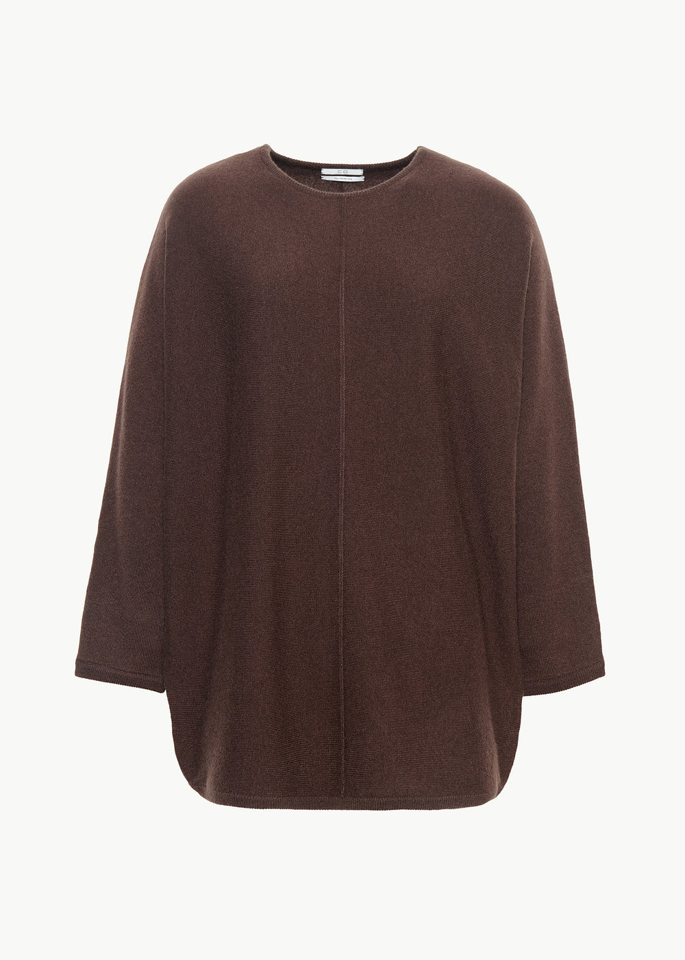 Crew Neck Dolman Sleeve Sweater in Cashmere - Chocolate - CO