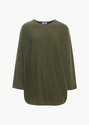 Crew Neck Dolman Sleeve Sweater in Cashmere - Olive - CO