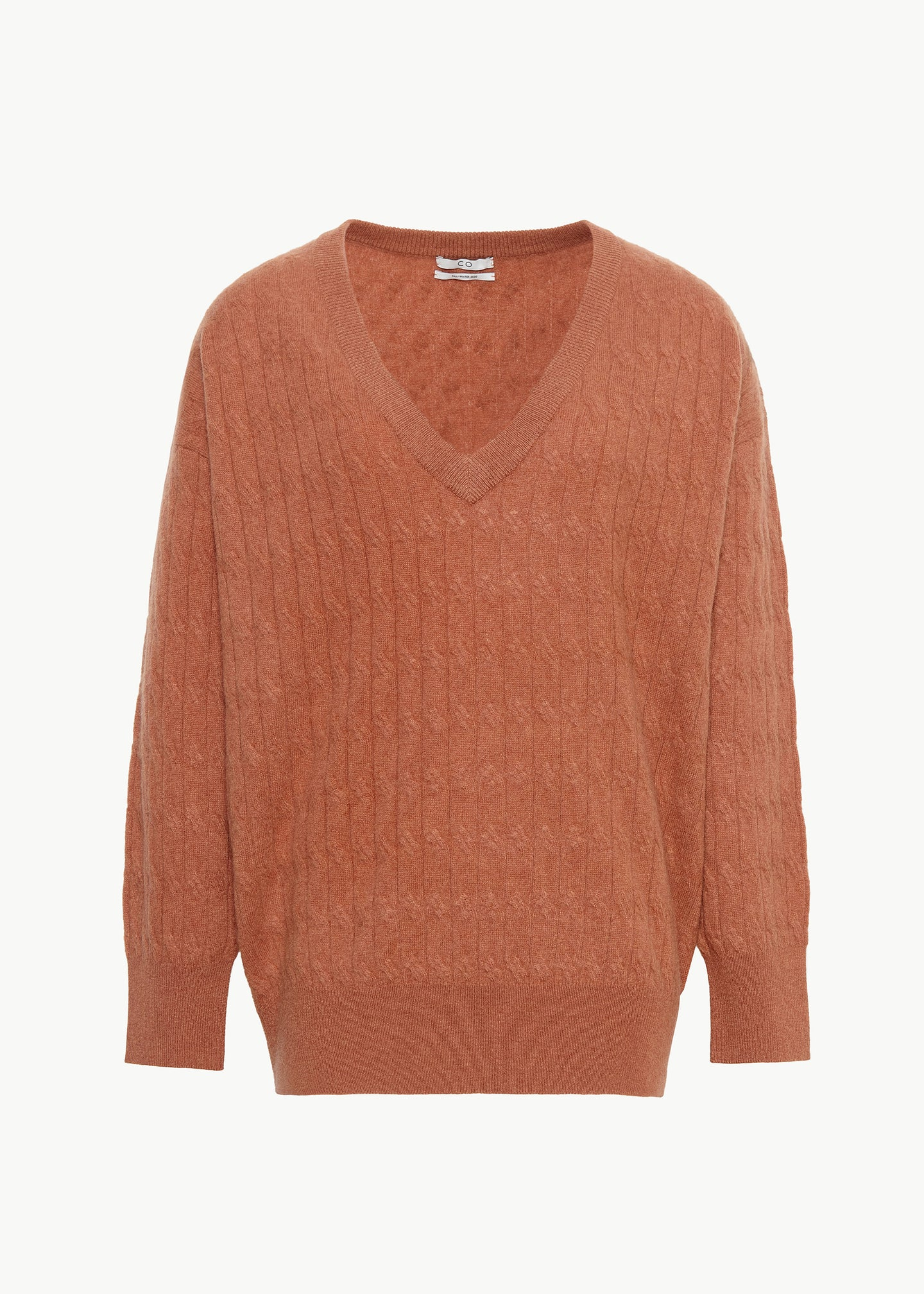 Cable Knit V Neck Sweater in Cashmere - Copper - CO