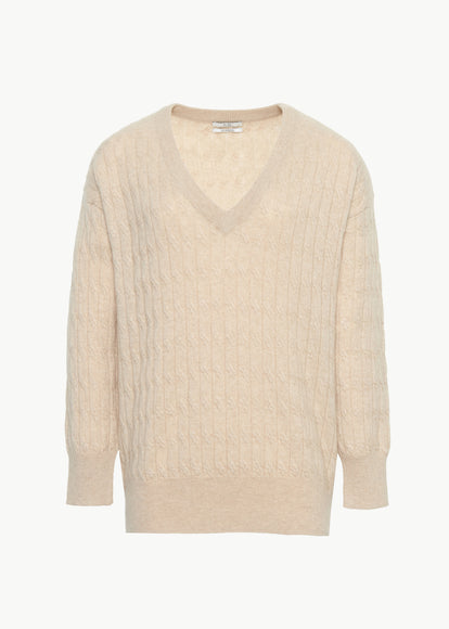 Cable Knit V Neck Sweater in Cashmere - Sand - CO