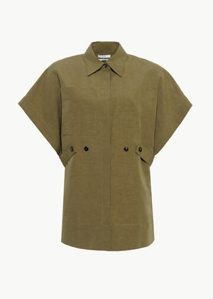 Short Sleeve Top in Cotton Linen - Olive - CO