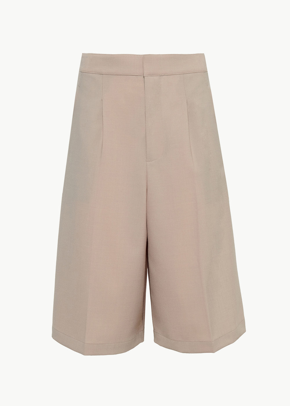 Pleated Culottes in Stretch Wool - Beige - CO