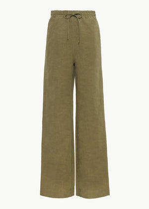Drawstring Pant in Cotton Linen - Olive - CO