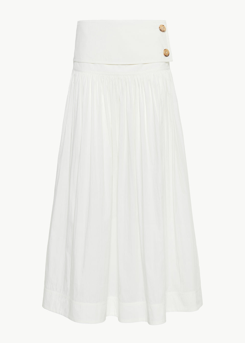 Ruched Midi Skirt in Cotton - White - CO
