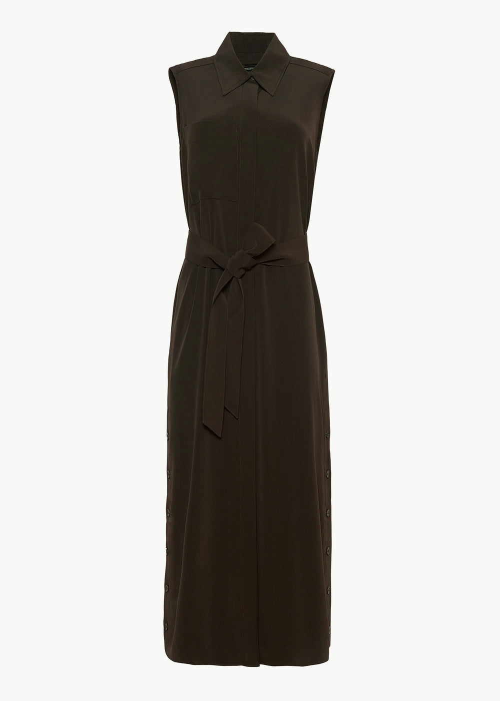 Sleeveless Midi Dress in Japanese Stretch Crepe - Forest - CO