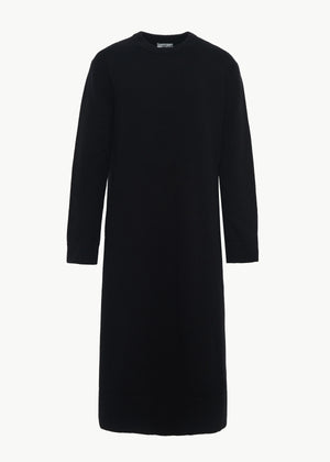 Crew Neck Sweater Dress in Wool Cashmere - Black - CO