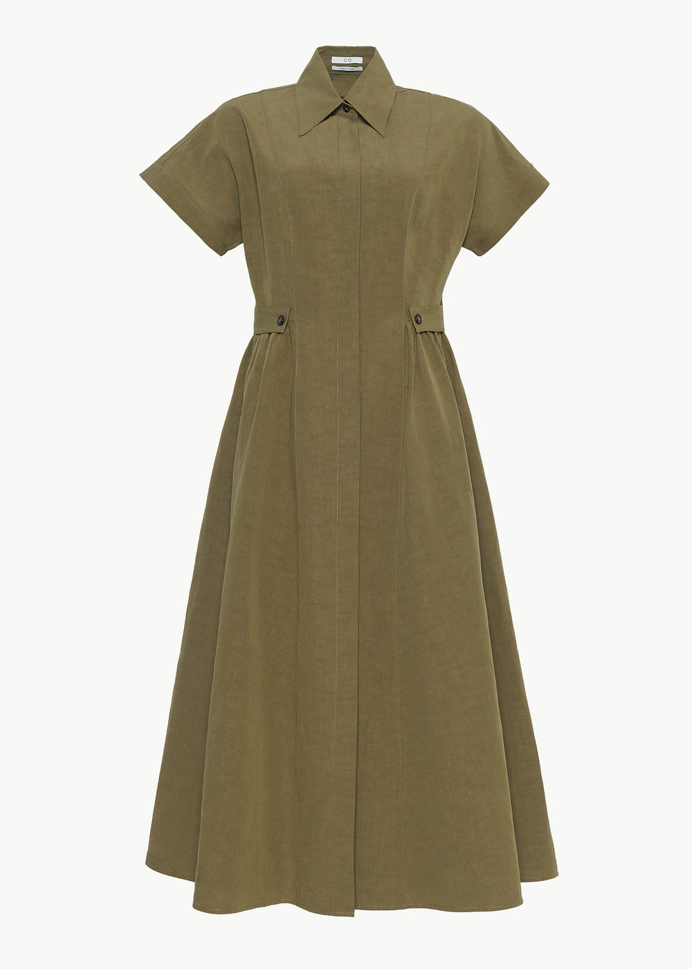Side Tab Dress in Cotton Linen - Olive - CO