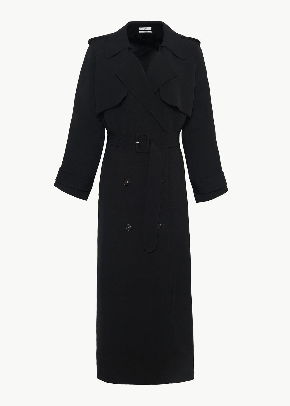 Double Breasted Coat with Belt in Viscose Linen - Black - CO