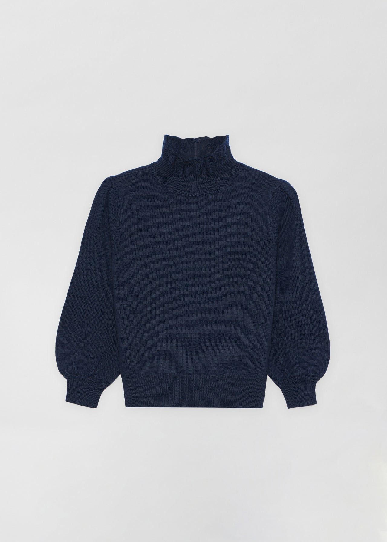 Ruffled Merino Wool Turtleneck - Navy