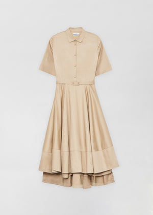 Short Sleeve Flared Dress - Taupe - CO