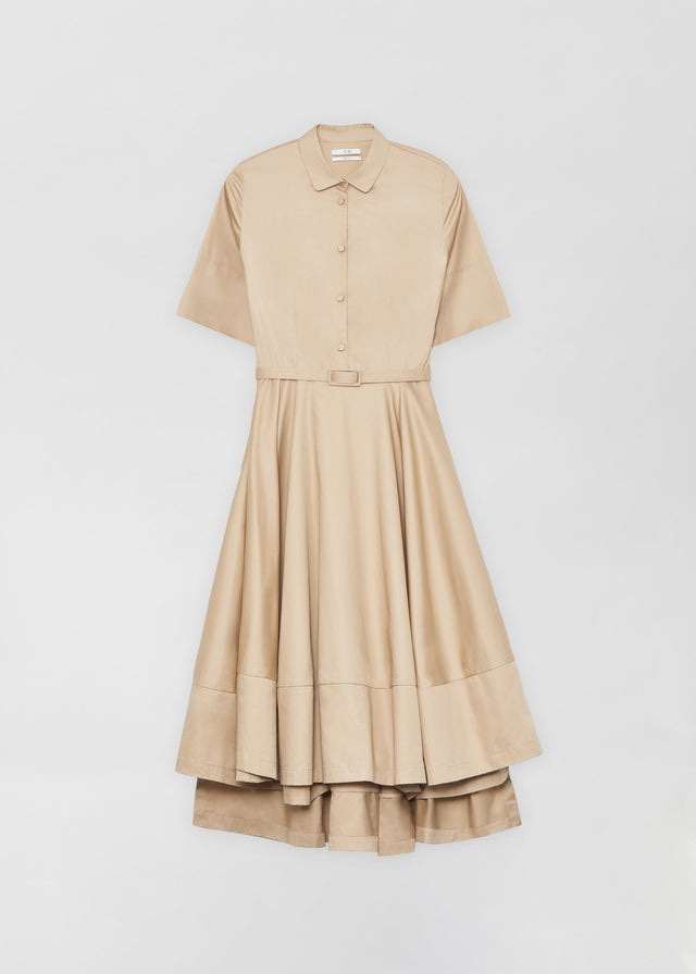 CO - Short Sleeve Flared Dress in Cotton Poplin- Taupe