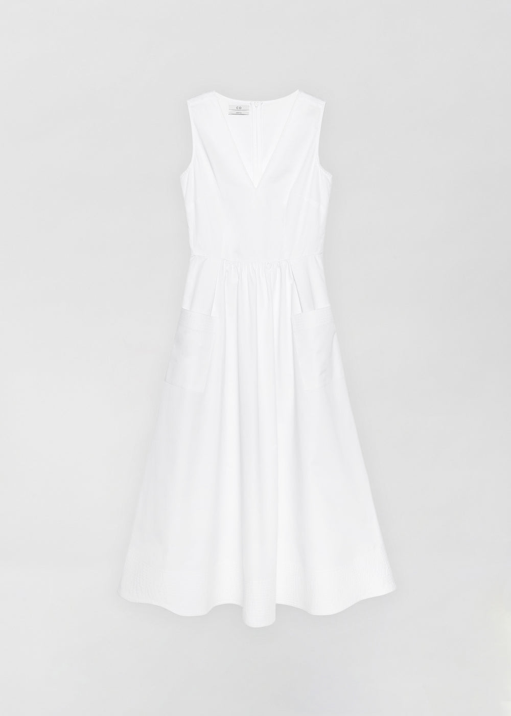 Sleeveless Trapunto Hem Dress - White - CO
