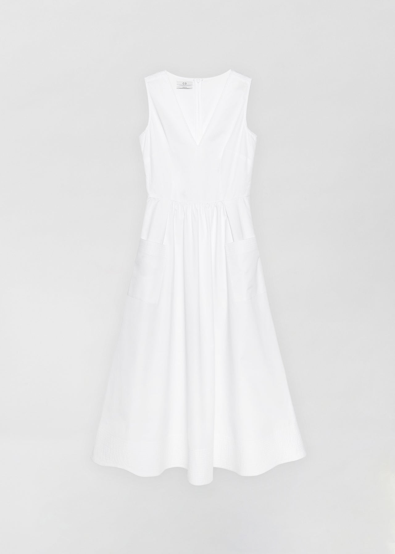 Sleeveless Trapunto Hem Dress - White