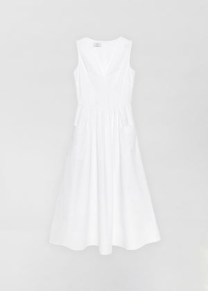 Sleeveless Trapunto Hem Dress - White - Co Collections