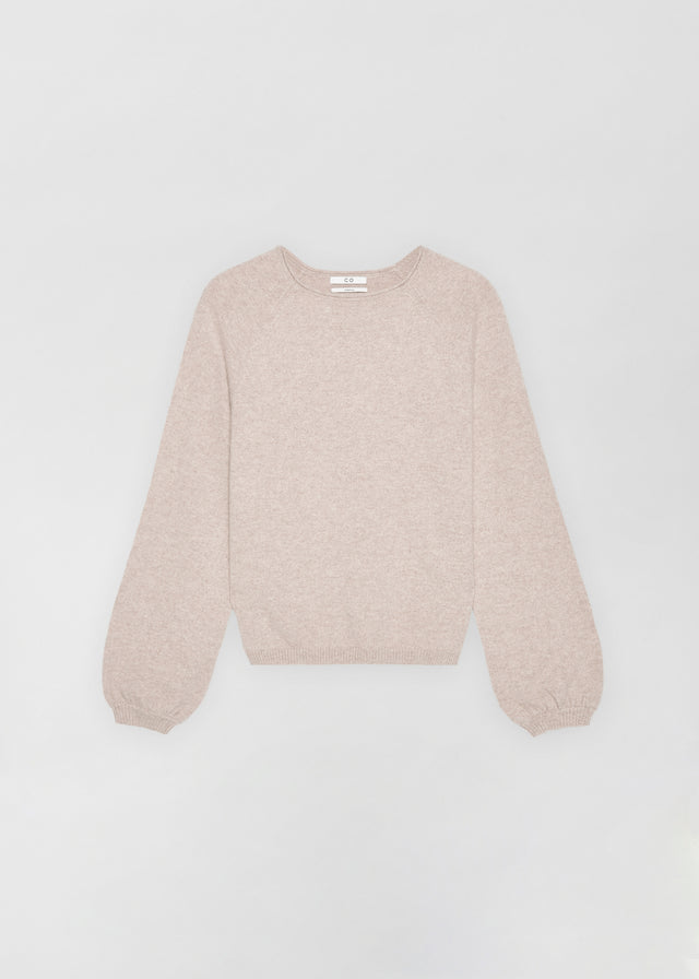 CO - Raglan Peasant Sleeve Sweater in Cashmere - Sand Melange