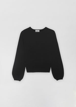 Raglan Peasant Sleeve Sweater - Black - CO