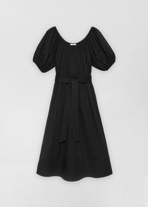 Bubble Sleeve Midi Dress - Black - Co Collections