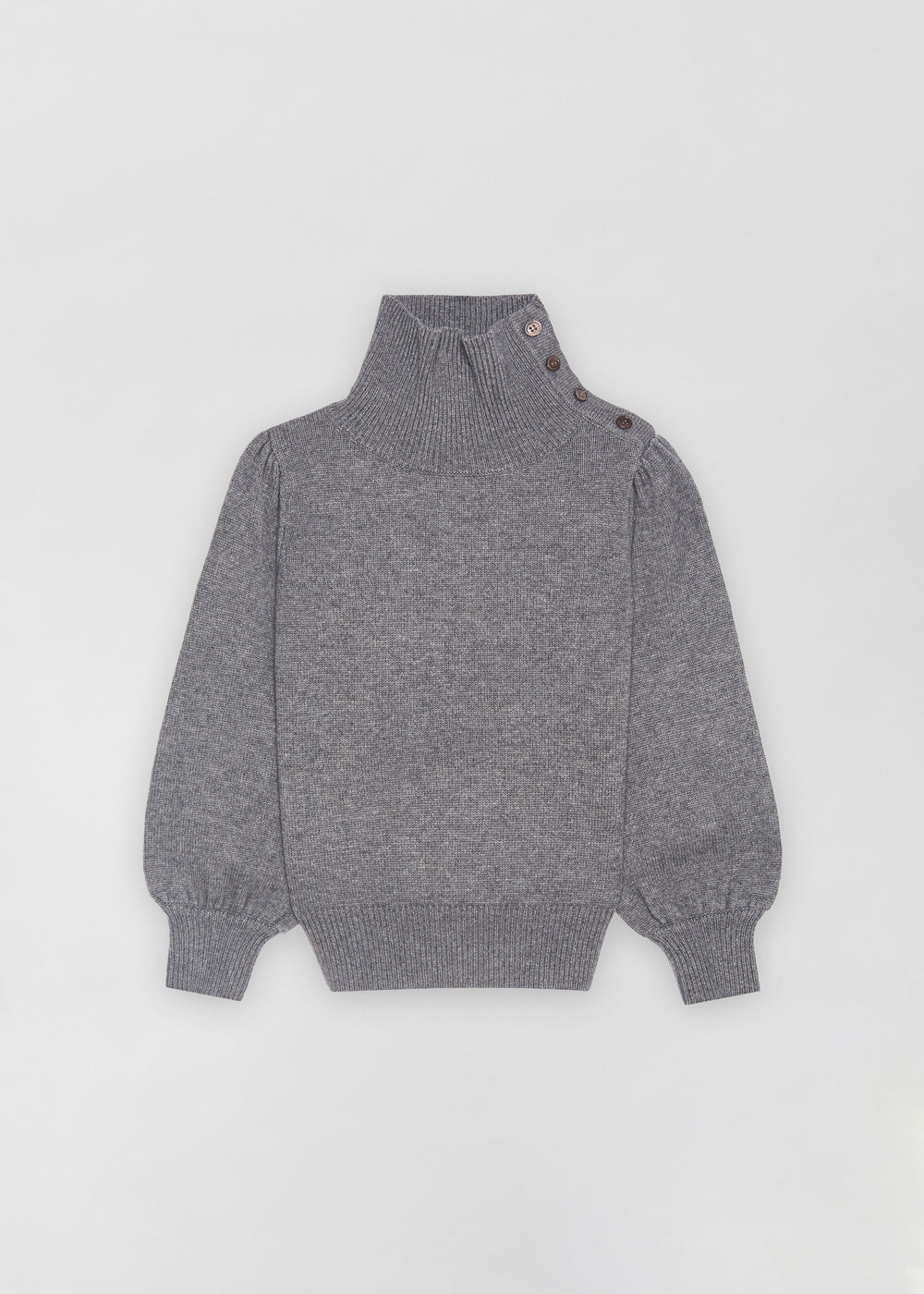 Button Shoulder Sweater - Grey - CO
