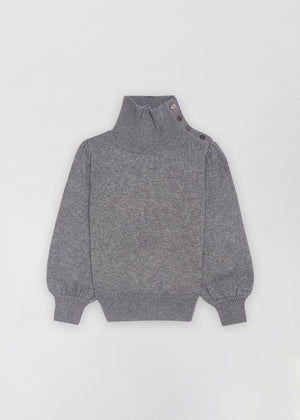 Button Shoulder Sweater - Grey - Co Collections