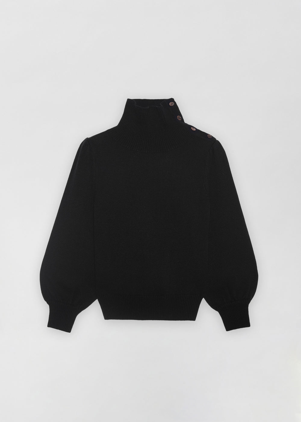 Button Shoulder Sweater - Black - CO