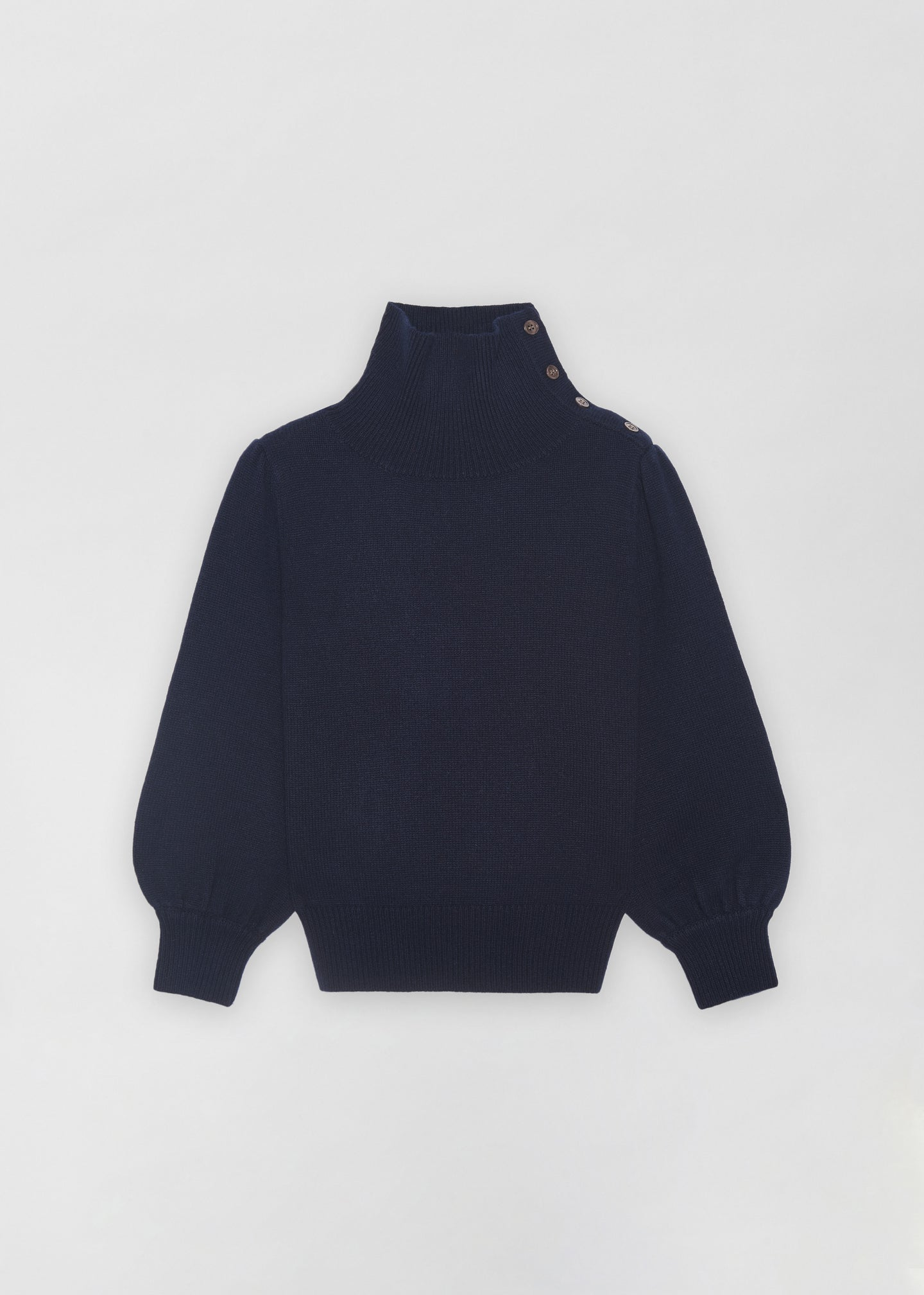 Button Shoulder Sweater - Navy - Co Collections