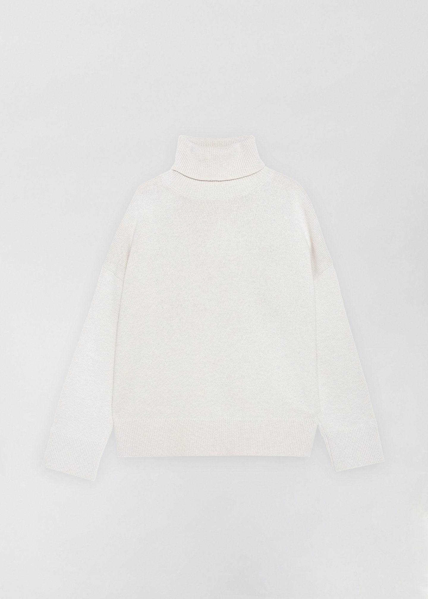 Dove Grey Boxy Turtleneck Sweater, Ivory A-Line Skirt - CO