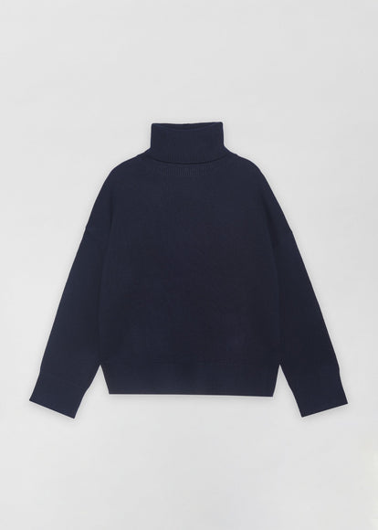 Navy Boxy Turtleneck Sweater, Black A-Line Skirt - CO
