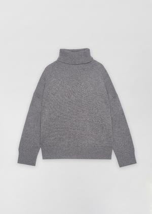 Grey Boxy Turtleneck Sweater, Black A-Line Skirt - CO