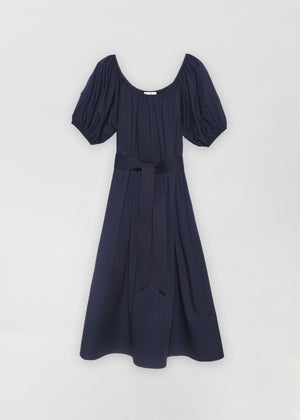 Bubble Sleeve Midi Dress - Navy - Co Collections