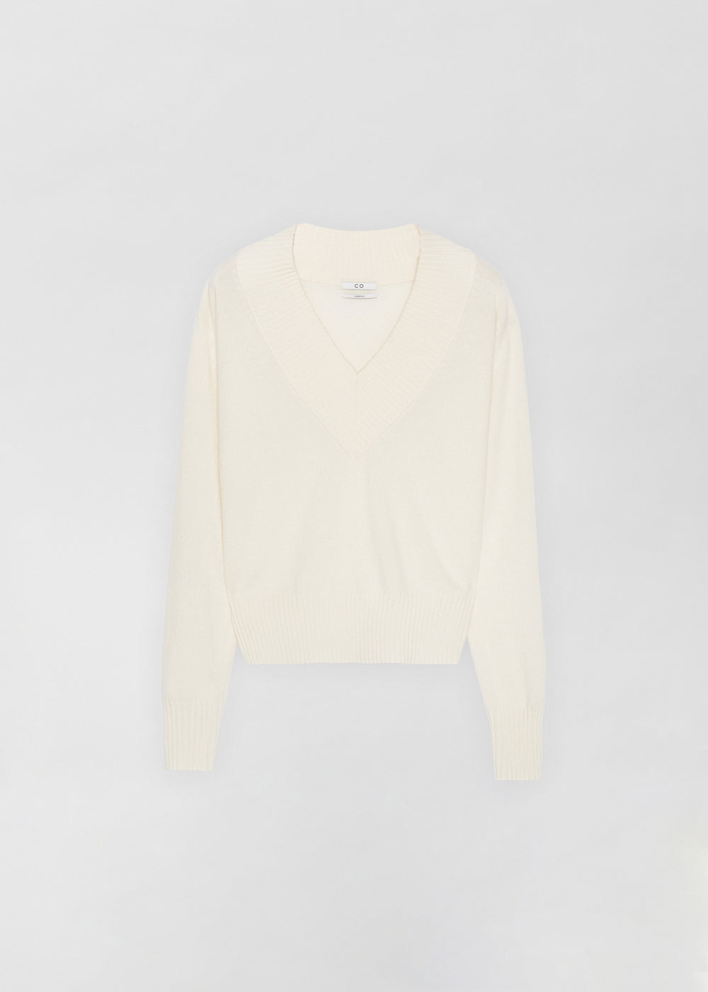 Cashmere V-Neck Sweater - Sand Melange in Ivory by Co Collections