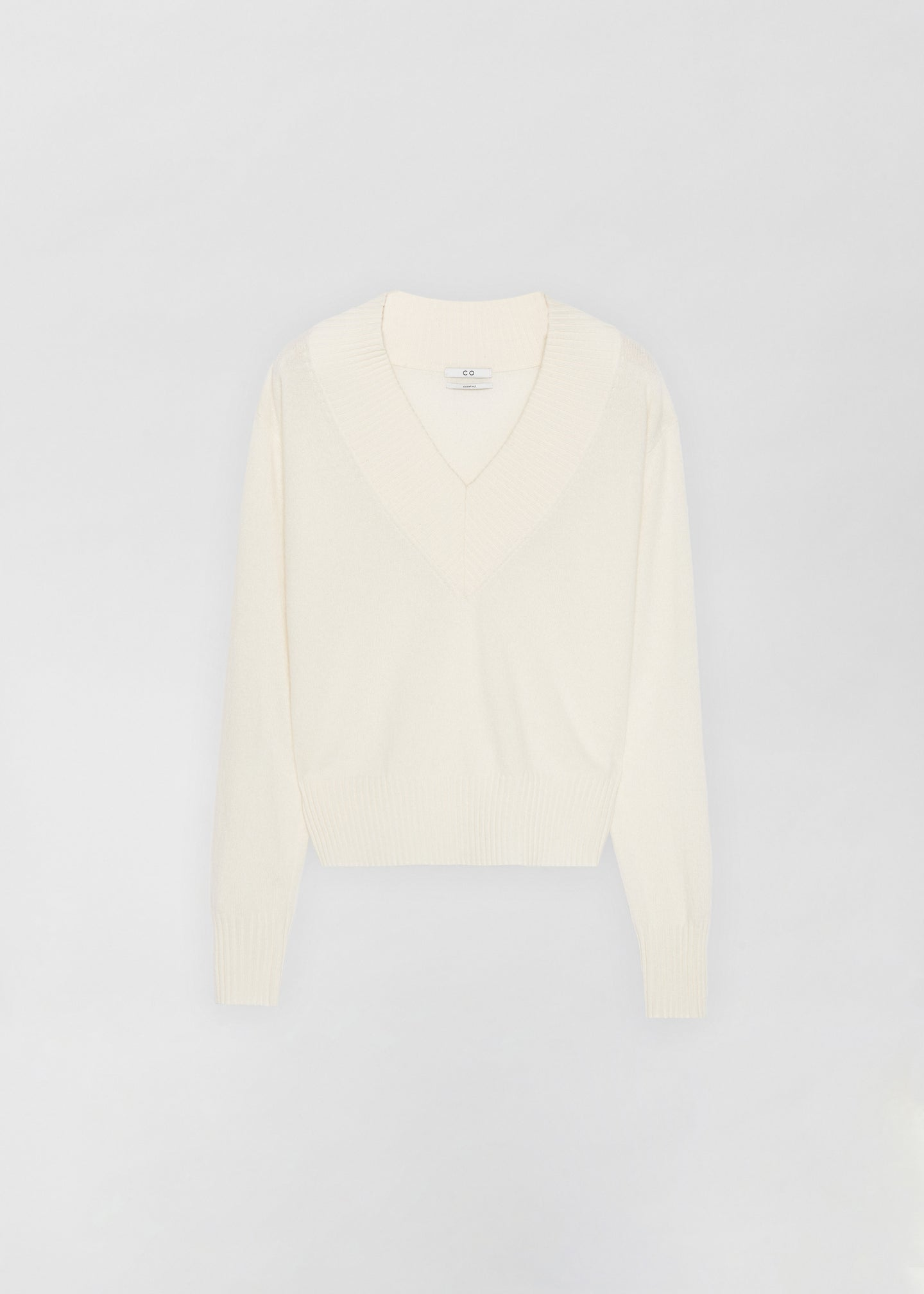 Cashmere V-Neck Sweater - Ivory - Co Collections