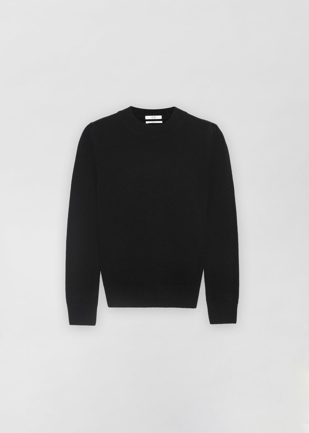 Ruched Cashmere Crew Neck Sweater - Black - CO