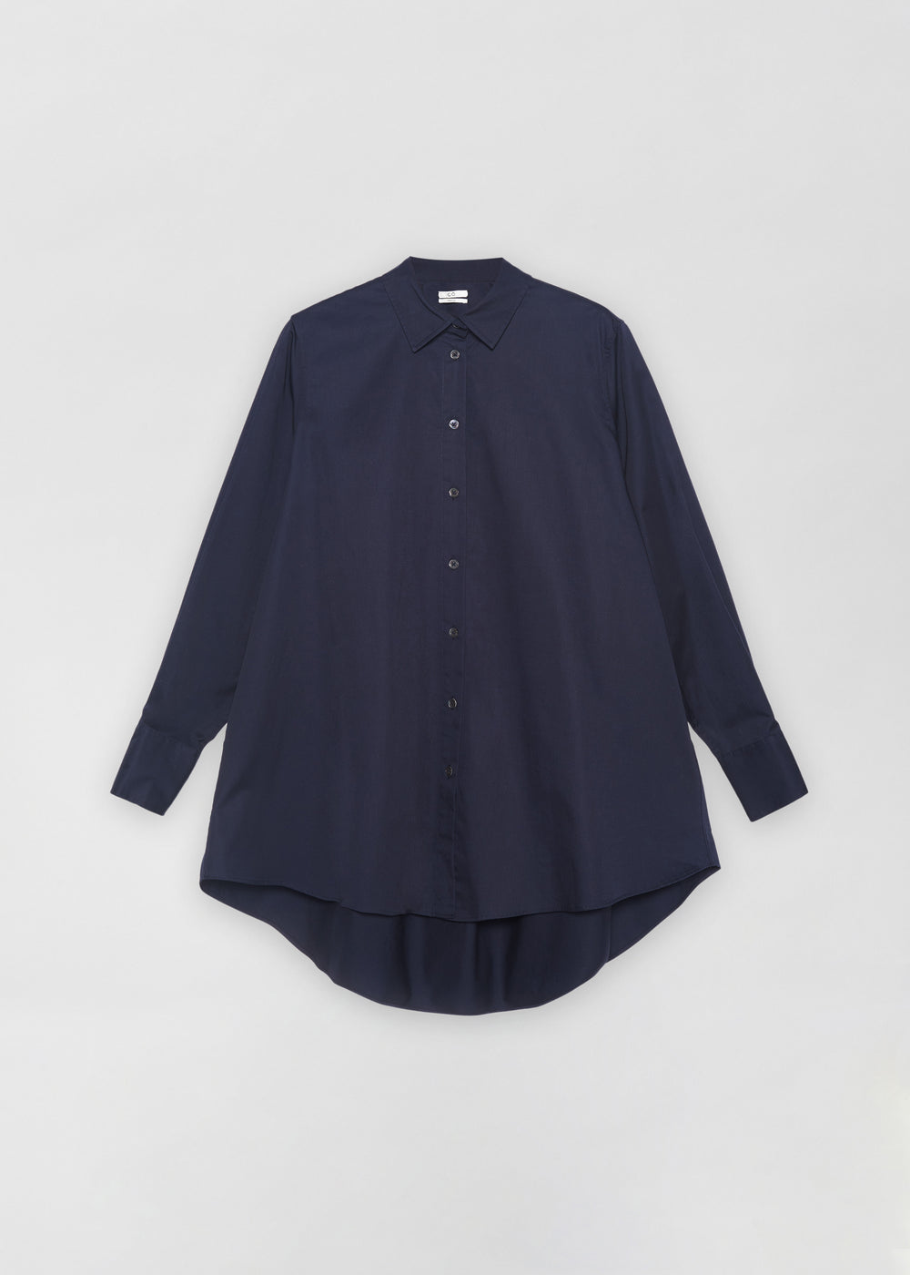 A-Line Button Down Shirt in Cotton Poplin - White in Navy by Co Collections