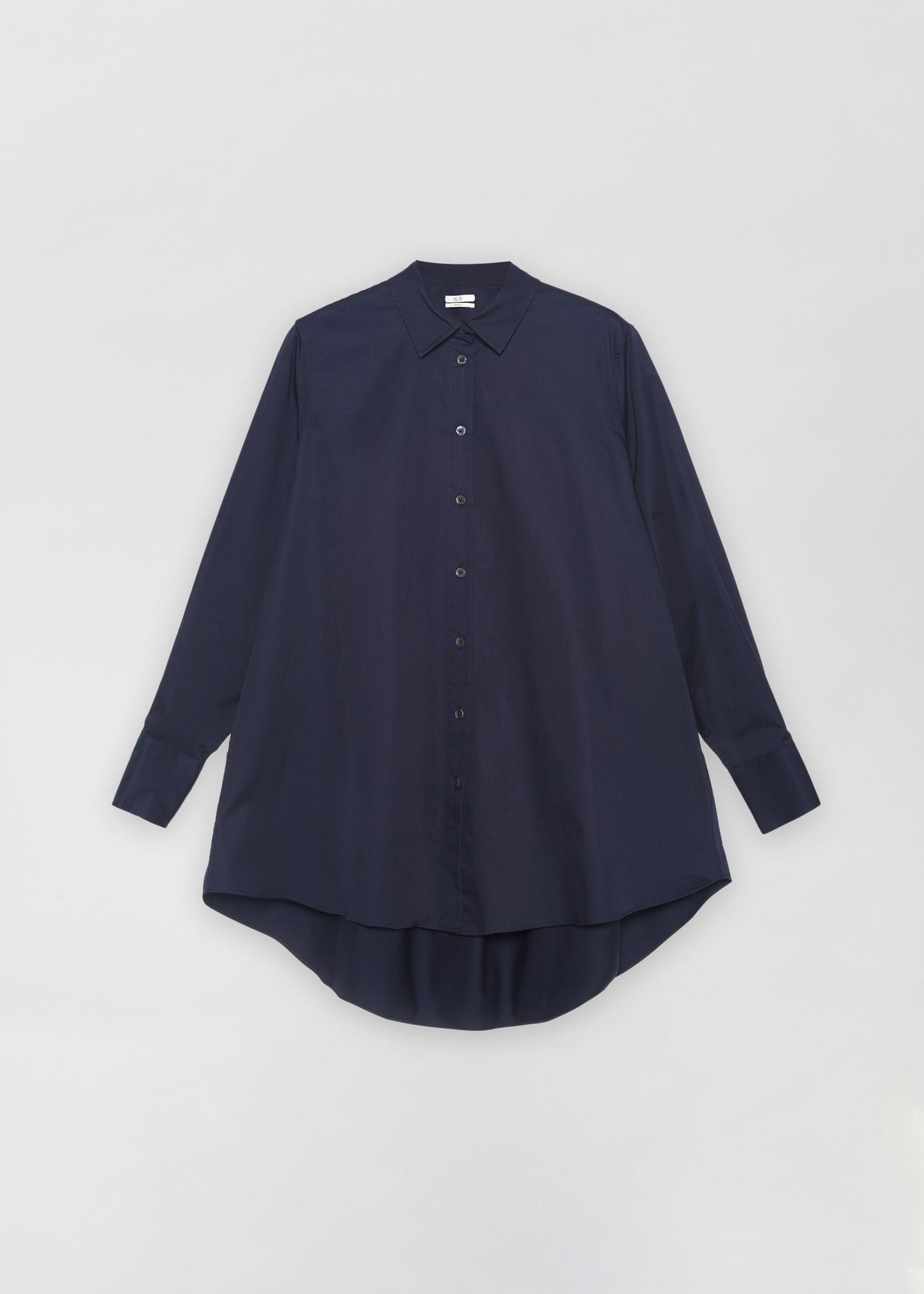 CO - A-Line Button Down Shirt in Cotton Poplin - Navy