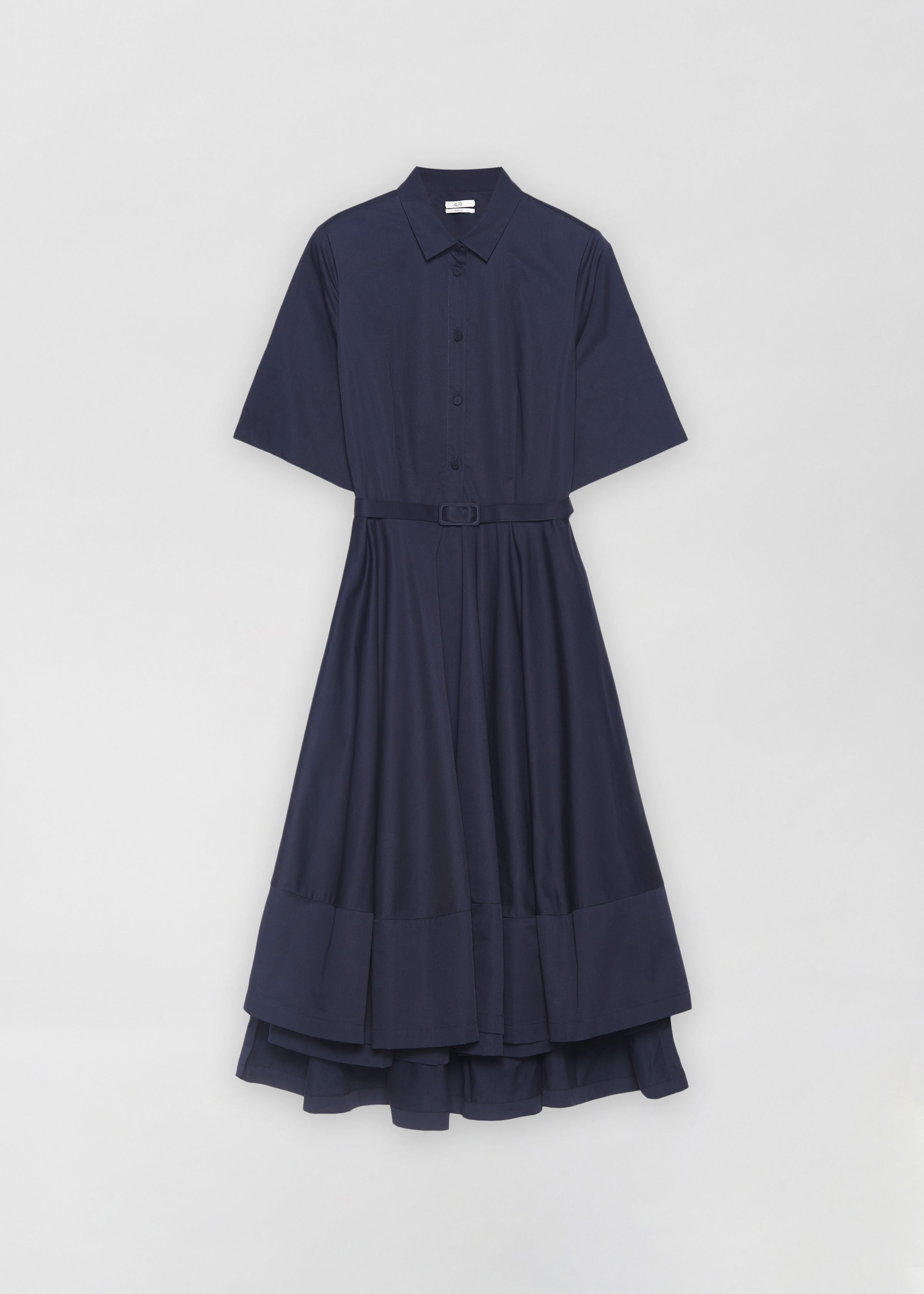 Short Sleeved Flared Dress - Navy